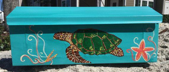 Green Sea Turtle, Wall Mount Mailbox, Hand Painted Turtle mailbox. Coastal decor.