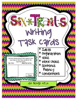 6-Traits Writing Task Cards.  There are 10 task cards for each trait for a total of 60 different task cards.  Each task card comes in color and black & white so there are 120 cards in all!  Each card contains a 6-Trait strategy statement, a graphic organizer for students to complete, and the type of trait that is being addressed.  These cards work great for mini-lesson ideas (you'll have 60 mini-lessons!), independent work during writing time, and as assessments!!
