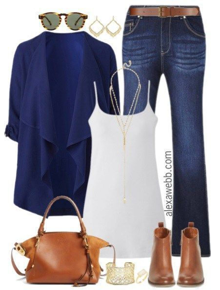 Plus Size Navy Waterfall Blazer Outfit - Plus Size Fashion for Women - alexawebb.com