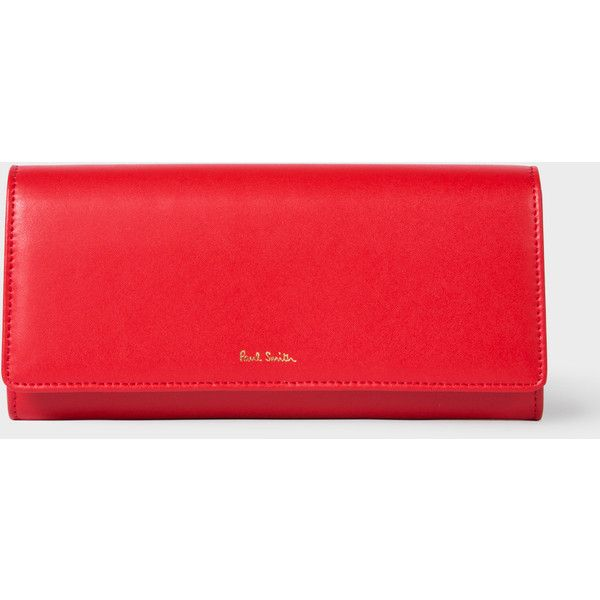 Paul Smith Women's Red Leather Tri-Fold Purse With 'Artist Stripe'... ($285) ❤ liked on Polyvore featuring bags, wallets, zipper wallet, leather wallets, red leather wallet, leather credit card holder wallet and credit card holder wallet