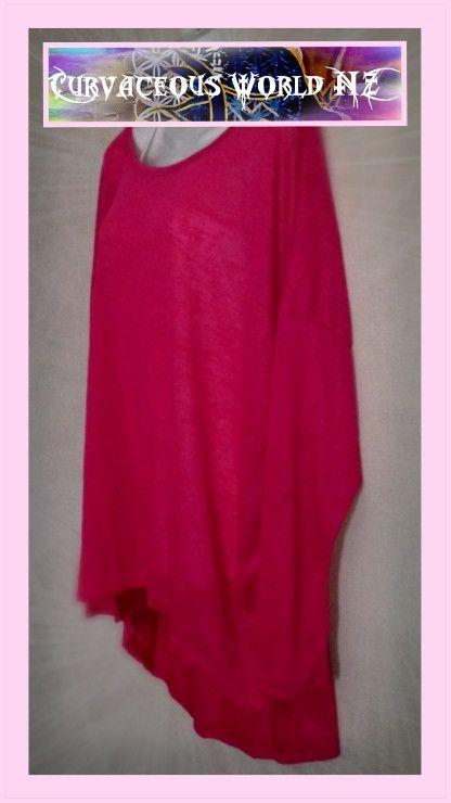 Hot Pink Asymmetric Hem bat winged Long Sleeve Blouse.