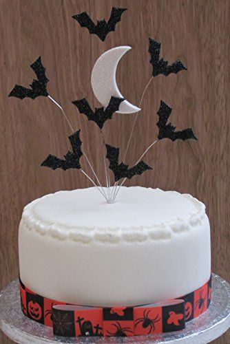 halloween cake topper with glittered moon and bats ideal https
