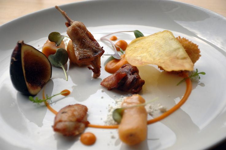 Maple Glazed Quail with fried quail egg, sweet potato 3 ways, olive oil and lavender powder, and fig