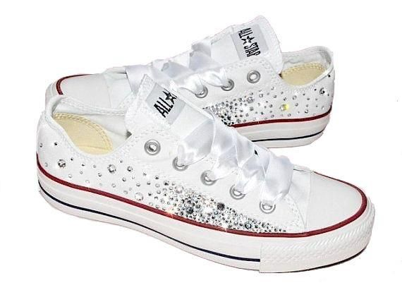 Women s White Converse All Star Chucks Crystal Bling Sneakers Prom Wedding  Shoes Womens White Converse f0d3883d7