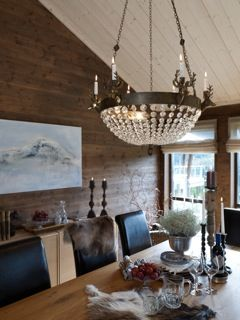 Lodge lamp Stetind with bohemian crystals