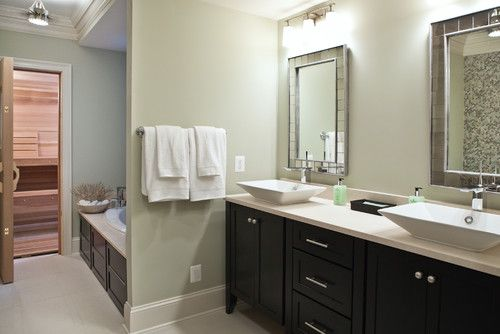 Dark Brown Bathroom: Wall Color Benjamin Moore Spanish Olive. Dark Brown