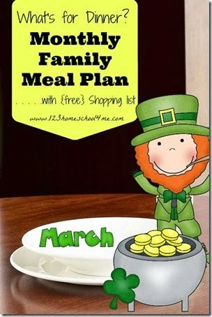 FREE March Meal Plan for Families with 4 weeks of menus and weekly printable grocery shopping lists.