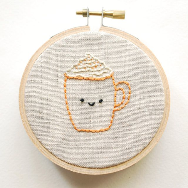 Pumpkin Spice Latte Free Embroidery Pattern
