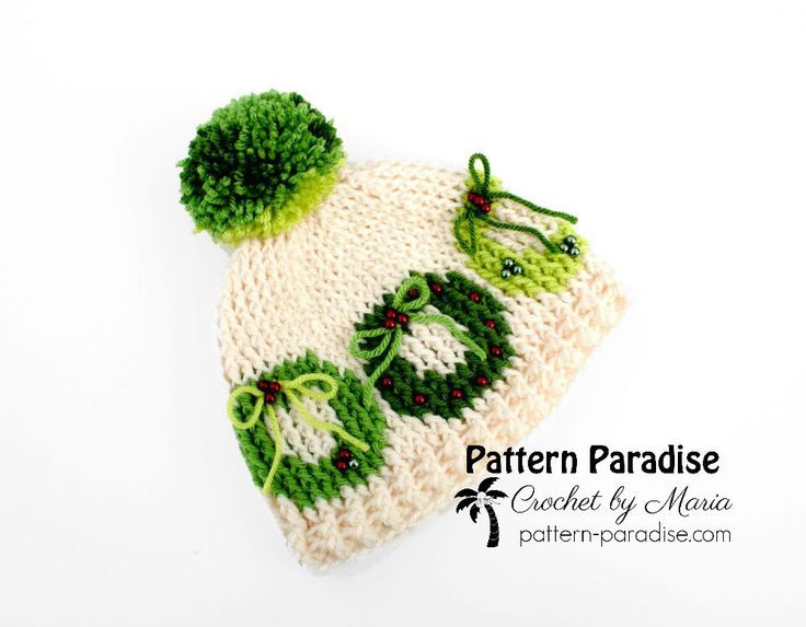 Free crochet pattern for graphed wreath hat by pattern-paradise.com #crochet #patternparadisecrochet #hat #beanie #Christmas