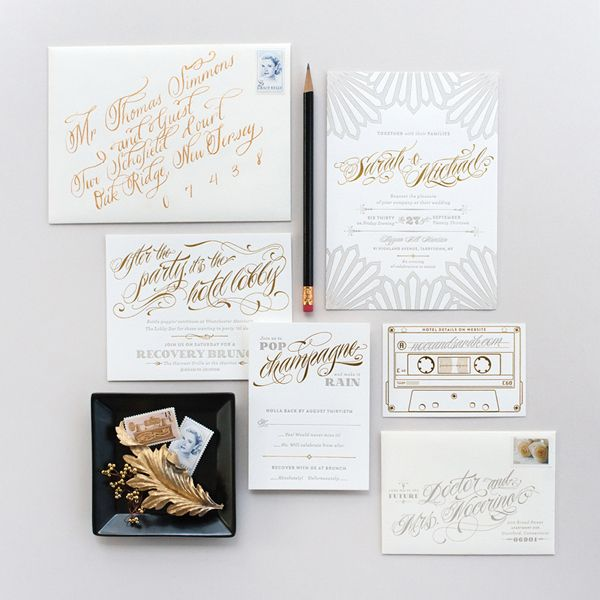 Hip Hop Hollywood Regency #Wedding Invitations with Gold Foil: http://ohsobeautifulpaper.com/2014/11/hip-hop-hollywood-regency-wedding-invitations/ | Design + Styling: Coral Pheasant Stationery + Design | Calligraphy: Calligraphy by Hillary | Photo Credits: Athena Bludé Photography