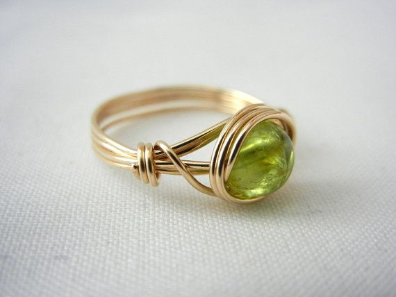 Peridot Ring, Wire Wrapped Ring, Peridot Jewelry, 14kt Gold-Filled, August Birthstone on Etsy, $18.00