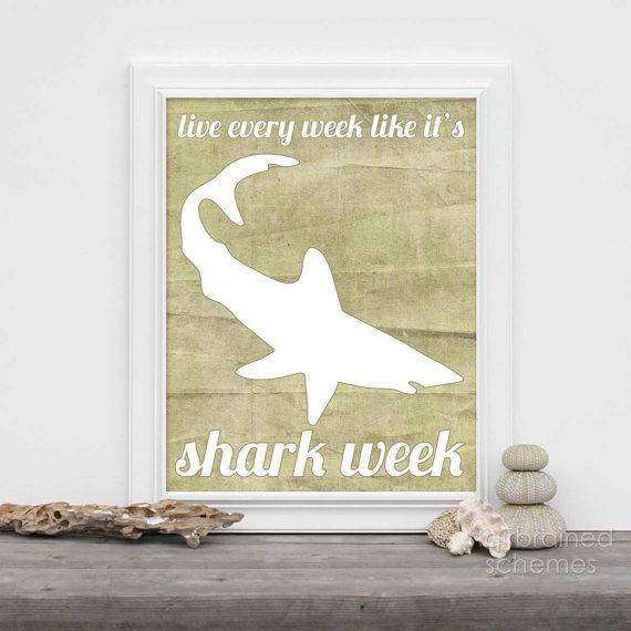 Shark Week Poster Art Funny Humorous Print  by hairbrainedschemes, $15.00