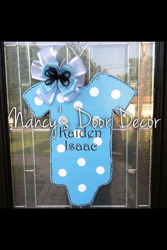 baby onesie wood door hanger hospital decor by