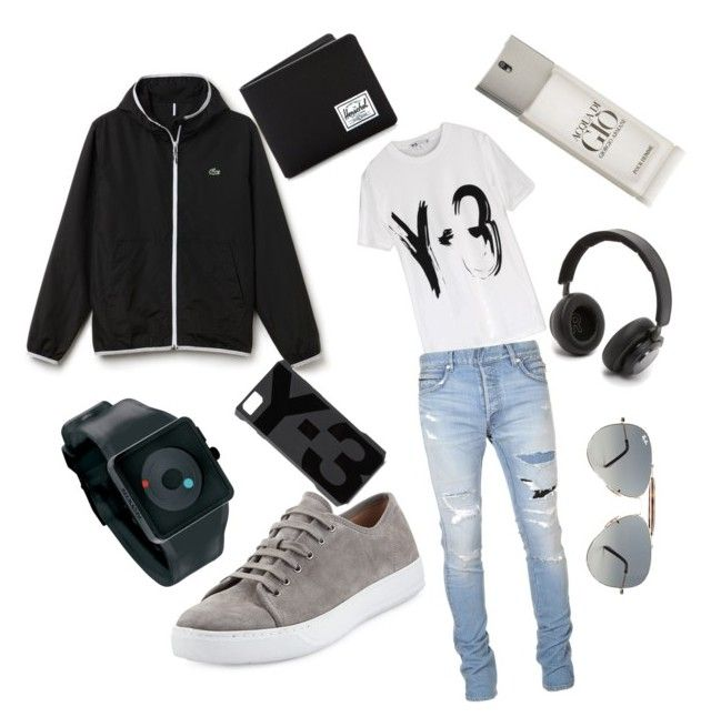 """Untitled #10"" by mayapriskilla on Polyvore featuring Giorgio Armani, Y-3, Lacoste, Balmain, Vince, Nixon, Herschel Supply Co., B&O Play, Ray-Ban and men's fashion"