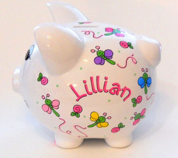 Personalized Piggy Bank Dragonflies and by LittleWhiteDogStudio, $39.00
