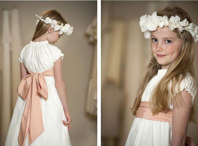 vestidos comunion con lazo rosa Vestidos de comunión para niñas