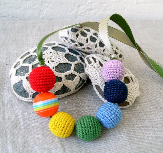 Rainbow Necklace  Crochet Beads Necklace  by MariaKonstantin, $15.00