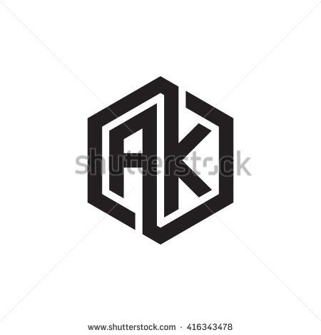 AK initial letters loop linked hexagon monogram logo