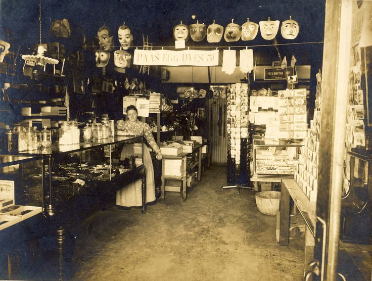 Halloween Mask Display Early Novelty Store Interior Vintage Photograph 1910-15