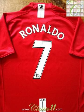 Official Nike Manchester United home football shirt from the 2007/2008 season. Complete with Ronaldo #7 on the back of the shirt in Premier League lettering.