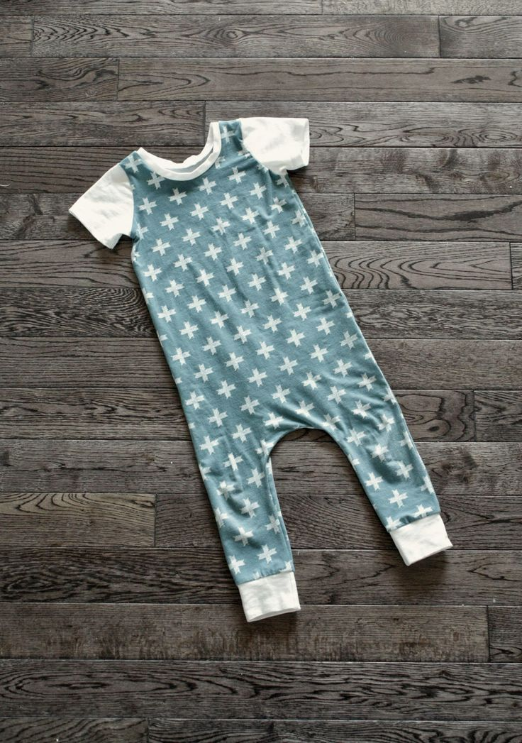 Harem Romper for Baby, Toddler, Child - Ocean Blue Cross Print Print with Soft White Cuffs & Accents Cotton Jersey Knit Romper/One-Piece by SadieCoHandmade on Etsy https://www.etsy.com/listing/518569383/harem-romper-for-baby-toddler-child