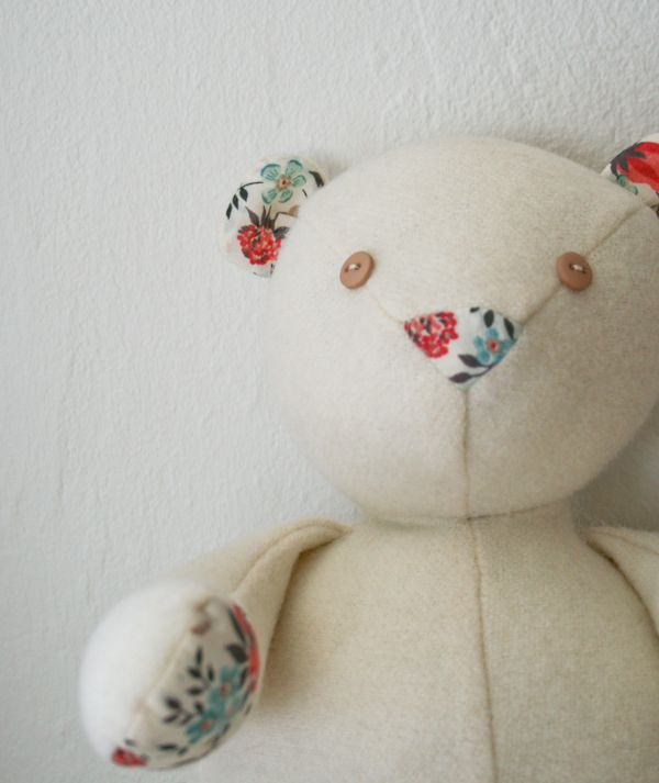 Wool and Liberty Teddy Bear - Free pattern to download and you can buy all the materials as a kit from Purl Bee