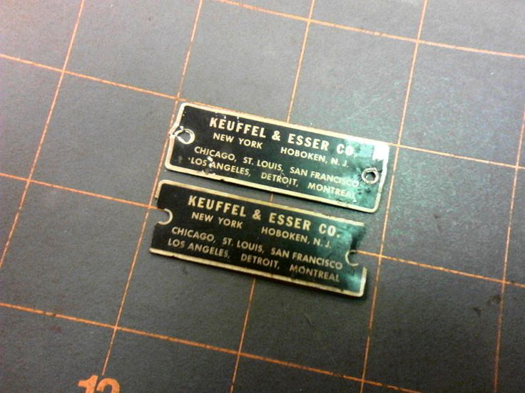 2 Vintage Nameplate Badges KEUFFEL & ESSER CO. NY AND NJ #KeuffelEsserKE