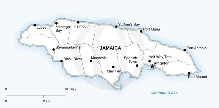 Jamaica Map Printable Free