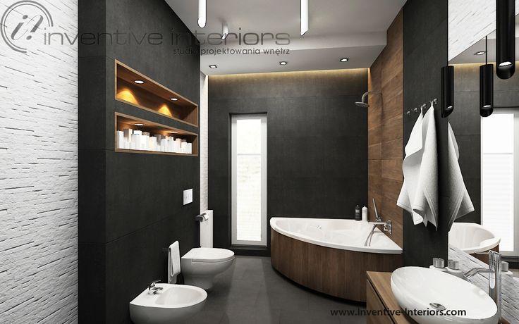 Projekt łazienki Inventive Interiors - grafitowe płytki, płytki drewnopodobne, kamień i drewno w łazience - wanna narożna - dwie umywalki na szafce w łazience