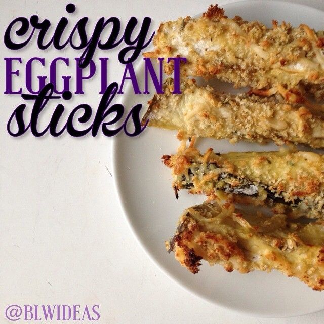 "Eggplant Sticks 1. Slice an eggplant into sticks however you want. (very large eggplant = about 40 sticks) 2. Set up 3 bowls. First bowl: 1/2 c flour Second bowl: 2 eggs, beaten Third bowl: 3/4 c bread crumbs, 1/2 c shredded Parm, oregano 3. Spray a drying rack with nonstick spray, place it inside a baking sheet. 4. Dip the sticks in the first, second, then third bowls. Line them up on the rack. 5. Bake at 425F (about 220C) for around 10 minutes. You get a bunch of super crispy ""fries""!"