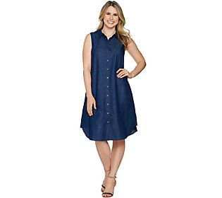 Joan Rivers Sleeveless Denim Shirt Dress