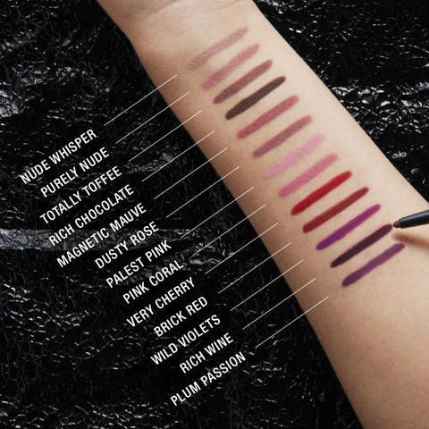 Maybelline Color Sensational Shaping Lip Liner all shades swatches - Nude Whisper, Purely Nude, Totally Toffee, Rich Chocolate, Magnetic Mauve, Dusty Rose, Palest Pink, Pink Coral, Very Cherry, Brick Red, Wild Violets, Rich Wine, Plum Passion