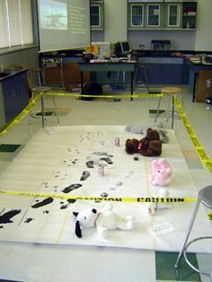 Set up a crime scene and have the kiddos write about various things that could have happened. Great, interactive idea!