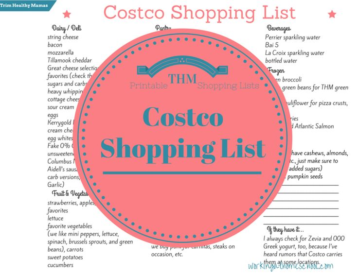 Gluten-Free, Healthy, Real-Food Trim Healthy Mama Shopping List for Costco!