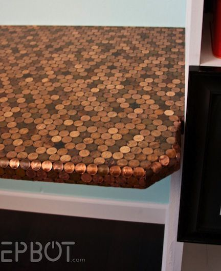 Penny projects so cool for a bar top i want for the for Copper penny bar top
