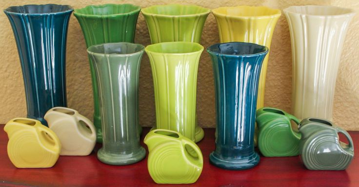 Fiesta Greens.  Medium & Small Vases.  Mini Disc Pitchers.