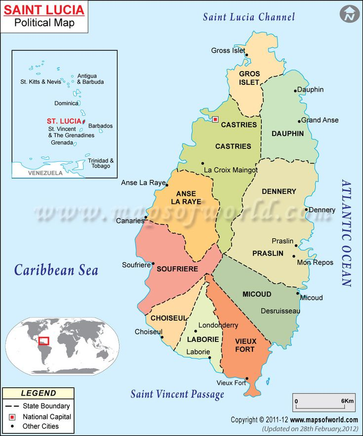 Map Of St Lucia And Surrounding Islands
