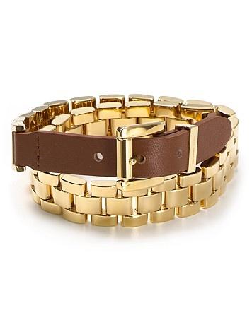 Michael Kors Leather Double Wrap Watch Link Bracelet