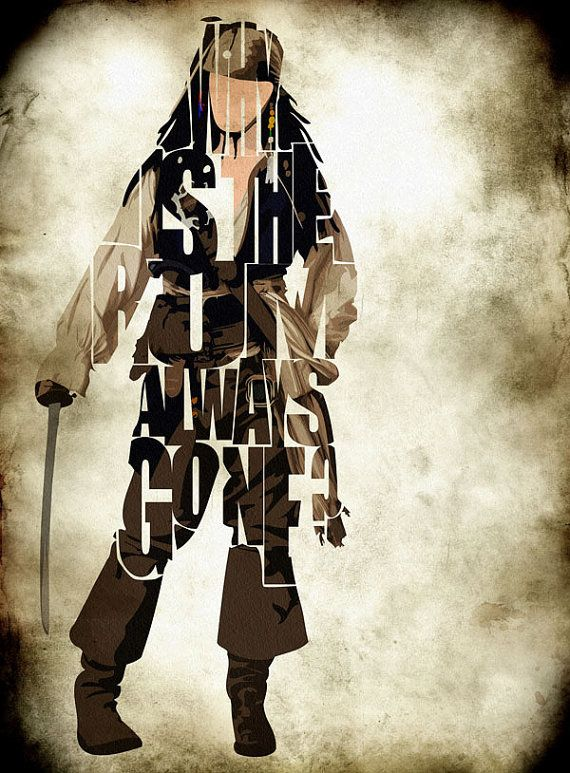 "Jack Sparrow Typography Poster | ""Why is the rum always gone?"" (Pirates of the Caribbean) Johnny Depp"