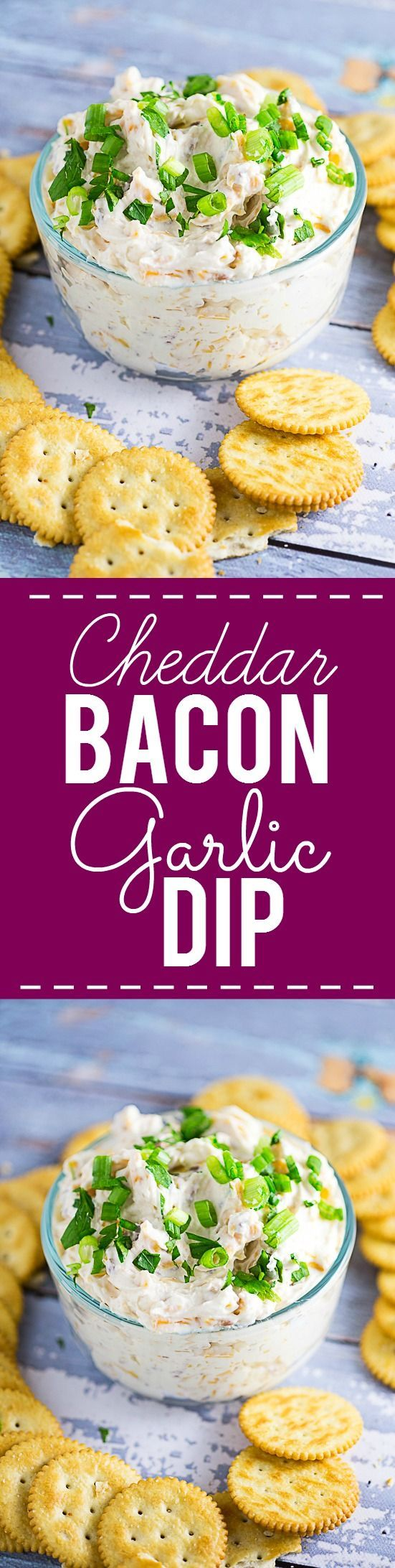 Cheddar Bacon Garlic Dip Recipe - Three favorite flavors come together in this simple but amazing Cheddar Bacon Garlic Dip recipe, with cheddar cheese, bacon, and garlic, in a creamy cream cheese dip.