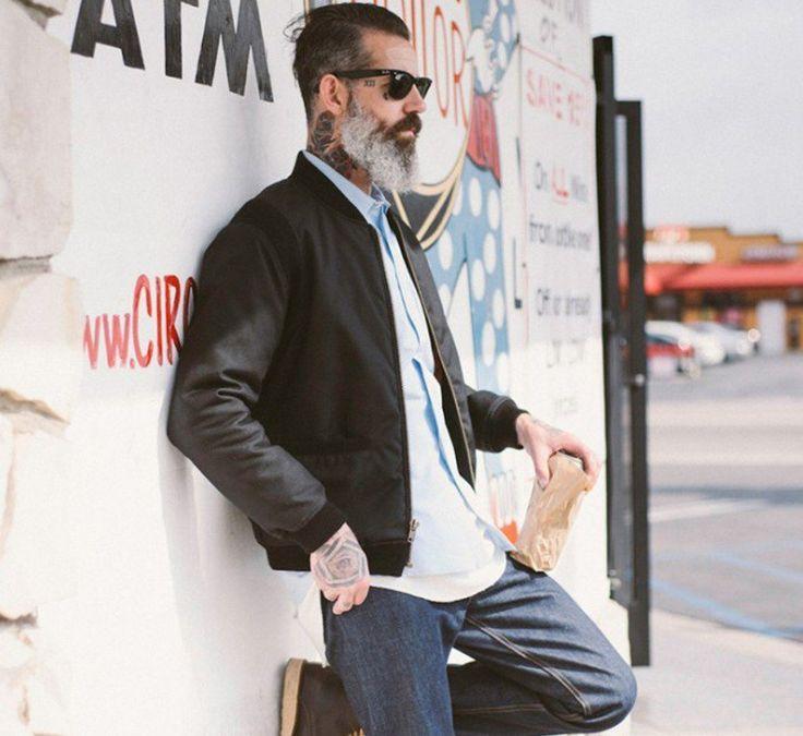 ジーンズ,オックスフォードシャツ,ノーカラージャケット,ボンバージャケット,メンズファッション着こなしコーデ
