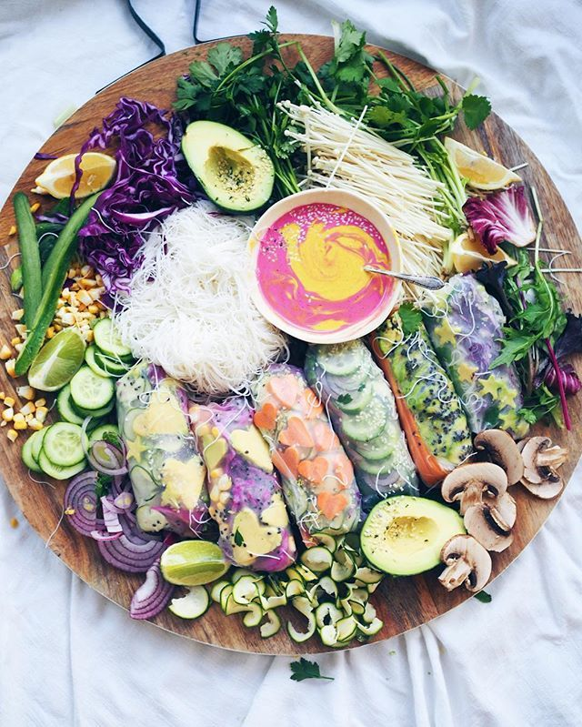 Taline Gabriel Instagram: Let's eat  Veggie Rice Paper Rolls with those cute shapes I'm obsessed with ✧✧ #hippielaneshapes #obsessed