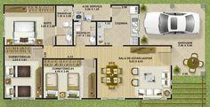 Plano de casa economica de tres dormitorios y 111 metros cuadrados - Planos de Casas Gratis | dePlanos.Com