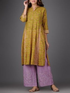 Green-Pink Block-printed Cotton Kurta