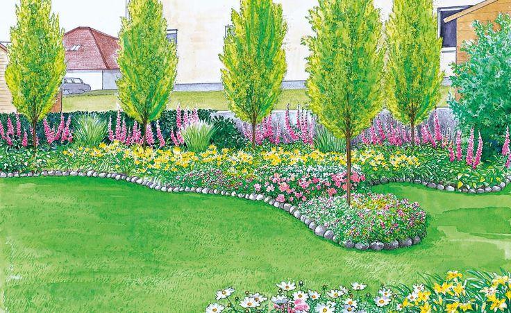 Sichtschutz für einen kurzen, breiten Garten -  Ein breiter Garten mit großer Rasenfläche soll neu gestaltet werden, dabei soll ein ordentlicher Sichtschutz aufgestellt werden. Wir präsentieren Ihnen dazu zwei Gestaltungsideen mit Pflanzplänen zum herunterladen.