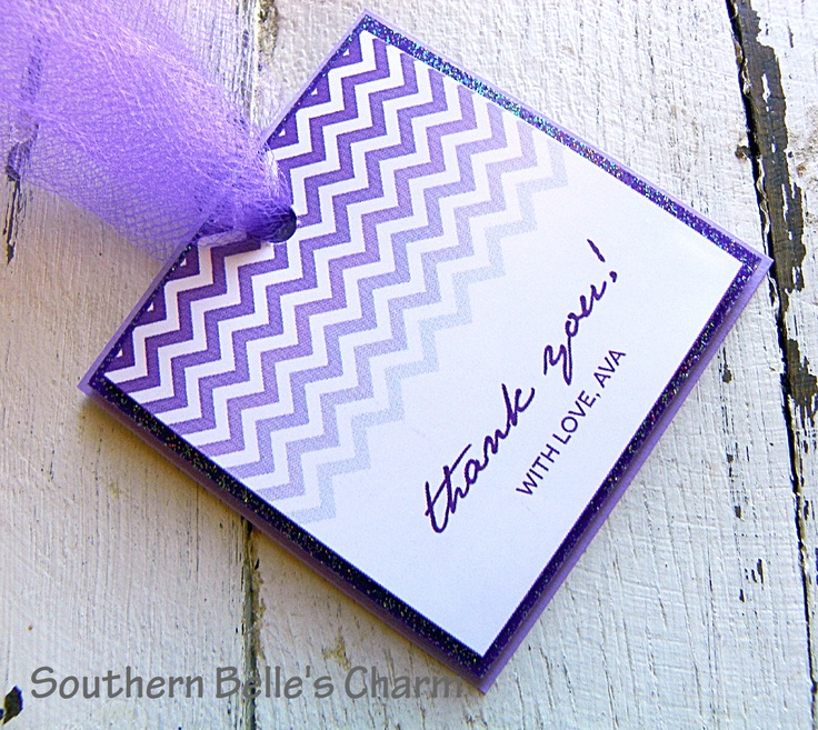 purple themed bridal shower%0A Chevron Ombre  Purple Favor Tags www southernbellescharm com