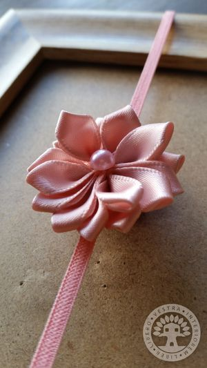 Dusty Rose Aster Ribbon Flower Elastic Headband by Corinne Jade