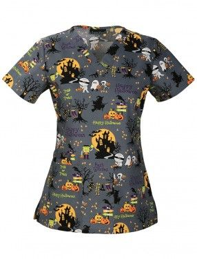 Cherokee Ghouls Night Out V-Neck Scrub Top- I keep telling myself that I don't need more halloween scrubs... but i want them