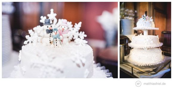 wonderful wedding cake for a winter wedding or theme party #snowman photo: Matthias Friel
