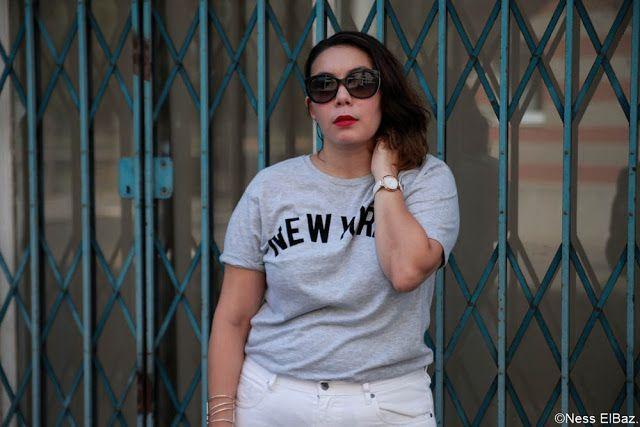 "#MasculinFeminin @MlleNess porte ici un T-shirt homme ""New York"" à petits prix BABOU ! (5€)"